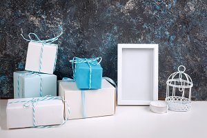 Christmas card with beautiful blue a
