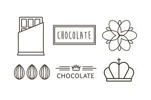 Chocolate line icons set, logo