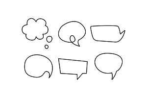 Speech bubble line icons set, text