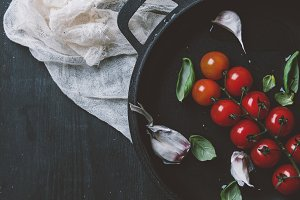 top view of red cherry tomatoes with