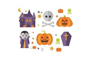 Halloween icons set, castle