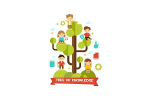 Tree of knowledge, cute little kids
