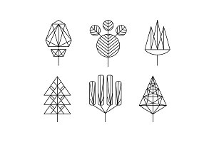 Geometrical trees set, monochrome