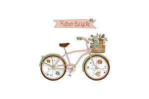 Retro bicycle with a basket of