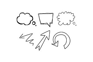Speech bubbles and arrows of