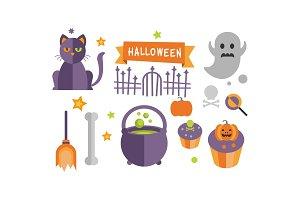 Halloween icons set, cat, ghost