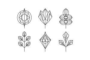 Geometrical leaves set, monochrome