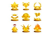 Golden awards vector icons