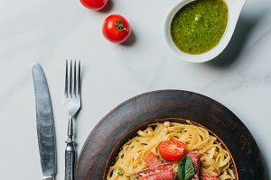 top view of pasta with mint leaves,