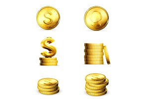 Golden Coins vector icons