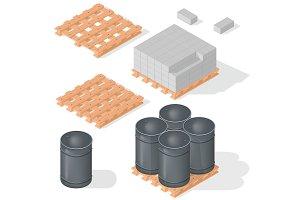 Isometric barrels concrete block