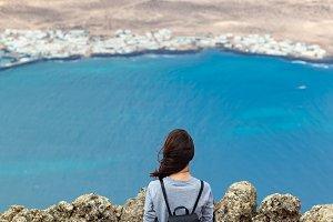 Traveler woman enjoying seascape
