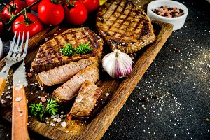 Grilled meat, bbq beef steak
