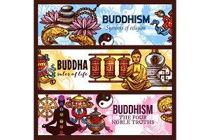 Buddhism religion symbols, vector