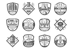 Power and energy industry, icons
