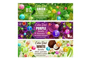 Healthcare color diet banners
