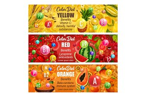 Vitamin in fruits veggies Color diet