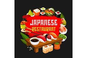 Japanese restaurant, sushi and rolls