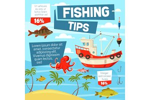 Fishery and fishing from boat vector