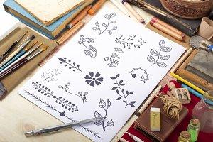 150 Hand drawn Typographic Elements
