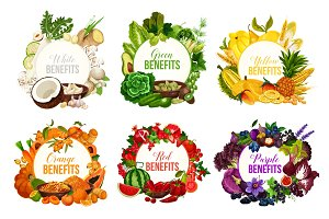 Detox color diet icons with greenery