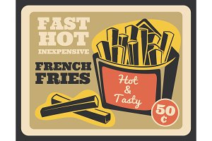 French fries pack fast food