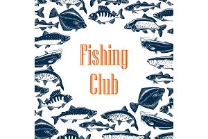 Fishing club poster with fishes