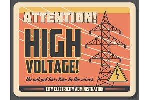 High voltage precaution attention