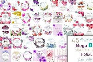45 Bundle watercolor flower cards