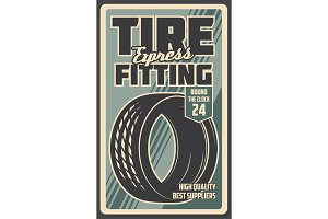 Tire fitting works, retro vector