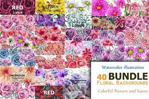 Bundle 40 watercolor flowers