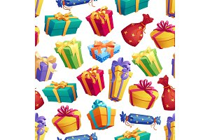 Gifts and presents seamless pattern