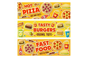Pizza, burgers and fast food meals