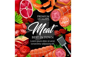 Butchery shop, meat and sausage