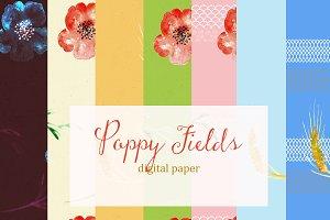Poppy fields. digital paper