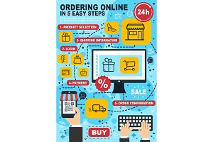 Online shopping and order, vector