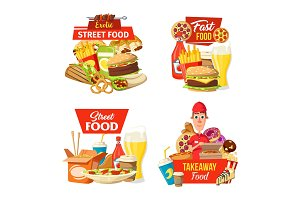Street fast food delivery icons