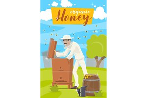 Beekeeper and hive at apiary farm