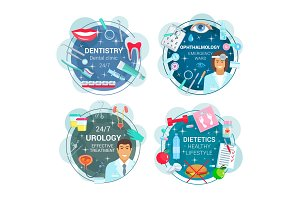 Medicine round icons of doctors