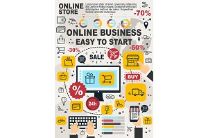 Business online infographic, vector