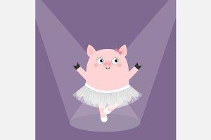 Pig bellerina dancing Spotlights