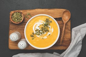 Cream of pumpkin soup in bowl