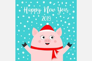 Happy New Year 2019. Pig in red hat