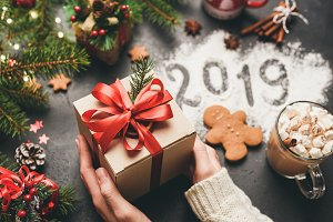 Christmas or New Year 2019 Gift Box