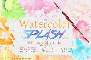 Watercolor Splash Design Elements PS