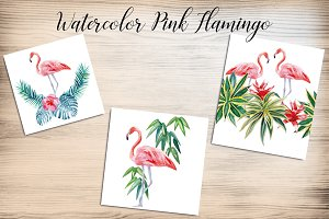 Handmade Flamingo Watercolor Print