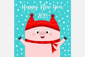 Happy New Year. Pig wearing red hat