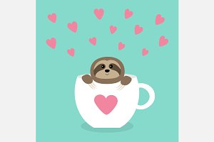 Sloth sitting in coffee cup. Hearts.