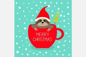 Merry Christmas Sloth sitting in cup