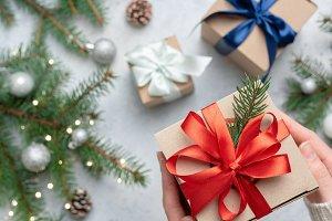 Christmas gift box, holding present